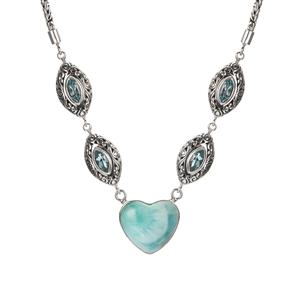 Larimar Samuel B Heart Necklace with Blue Topaz in Sterling Silver 20.20cts