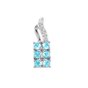 Swiss Blue Topaz Pendant with White Zircon in Sterling Silver 0.88ct