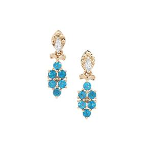 Neon Apatite Earrings with White Zircon in 9K Gold 1.29cts