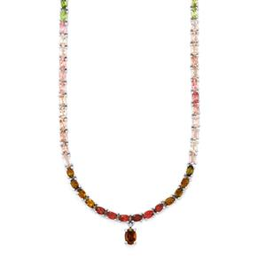 Rainbow Tourmaline Necklace in Sterling Silver 20.83cts