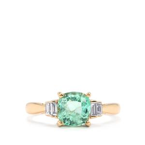 Colombian Emerald Ring with Diamond in 18k Gold 2.03cts