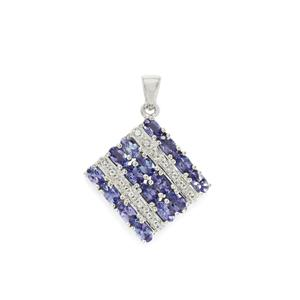 AA Tanzanite & White Topaz Sterling Silver Pendant ATGW 4.21cts