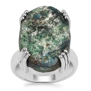 Fuchsite Drusy Ring in Sterling Silver 16cts