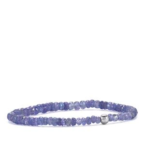 40ct Tanzanite Stretchable Graduated Bead Bracelet with Silver Ball
