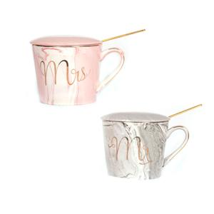 Gem Auras His & Hers Mug Set -Silver Needle Tea fragrance - Yellow Tigers Eye & Rose Quartz ATGW 60cts