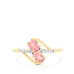 Mozambique Pink Spinel & White Zircon 9K Gold Ring ATGW 0.78cts