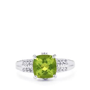 Changbai Peridot & White Topaz Sterling Silver Ring ATGW 2.41cts