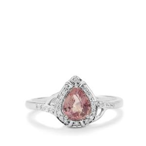 Padparadscha Sapphire Ring with Diamond in 18K White Gold 1.19cts