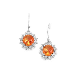 Lotus Cut Padparadscha Quartz Earrings with White Topaz in Sterling Silver 3.79cts