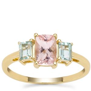 Cherry Blossom™ Morganite Ring with Aquaiba™ Beryl in 9K Gold 1.25cts