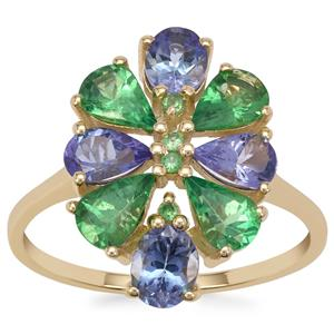 Tsavorite Garnet Ring with AA Tanzanite in 9K Gold 2.85cts