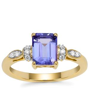 AAA Tanzanite Ring with Diamond in 18K Gold 1.55cts