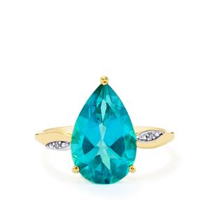 Batalha Topaz Ring with Diamond in 9K Gold 4.86cts