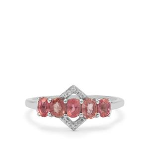 Padparadscha Sapphire Ring with White Zircon in 9K White Gold 1.20cts