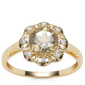 Csarite® Ring with Diamond in 10k Gold 1.57cts