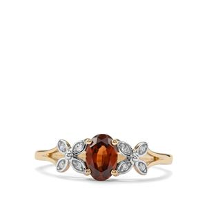 Capricorn Zircon Ring with Diamond in 9K Gold 0.89cts