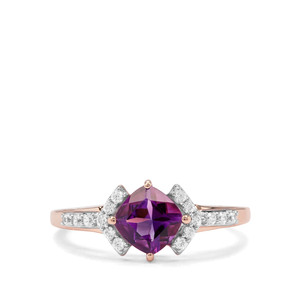 Moroccan Amethyst & White Zircon 9K Rose Gold Ring ATGW 1.13cts