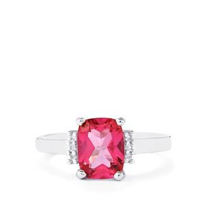Mystic Pink Topaz Ring with White Topaz in Sterling Silver 2.50cts