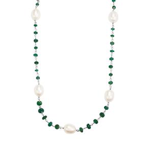Zambian Emerald Necklace with Kaori Cultured Pearl in Sterling Silver