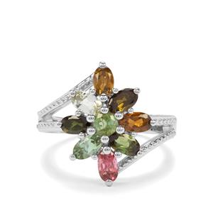2.10ct Tutti-Frutti Tourmaline Sterling Silver Ring