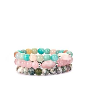 Agate, Amazonite, Rose Quartz, Multi-Colour Beryl & Sunstone Sterling Silver Set of Bracelets ATGW 248ct
