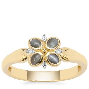 Cats Eye Alexandrite Ring with White Zircon in 9K Gold 0.43ct