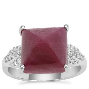 Bharat Ruby Ring with White Zircon in Sterling Silver 13.20cts