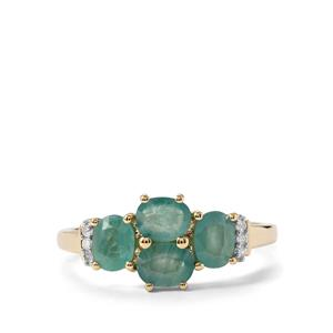 Grandidierite Ring with Diamond in 10k Gold 1.48cts