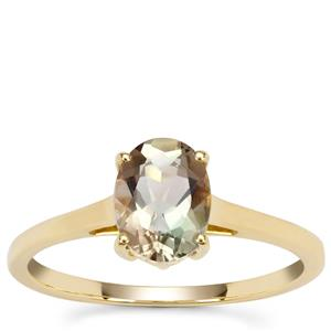 Watermelon Oregon Sunstone Ring in 9K Gold 1.15cts