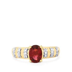 Red Spinel Ring with Diamond in 18k Gold 1.23cts
