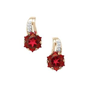 Wobito Snowflake Cut Scarlet Red Topaz Earrings with Diamond in 9K Gold 5.75cts