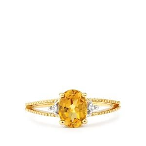 Xia Heliodor & White Zircon 9K Gold Ring ATGW 1.11cts