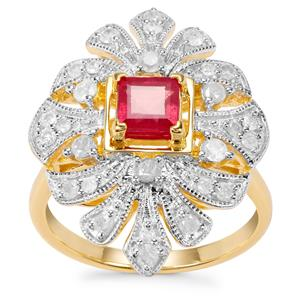 Montepuez Ruby Ring with Diamond in Gold Plated Sterling Silver 1.34cts