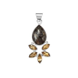 Astrophyllite Pendant with Diamantina Citrine in Sterling Silver 13cts