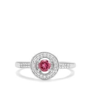 Pink Tourmaline & White Topaz Sterling Silver Ring ATGW 0.43cts
