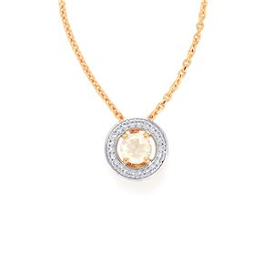 Rainbow Moonstone Slider Pendant Necklace with White Topaz in Rose Midas Sterling Silver 0.61cts