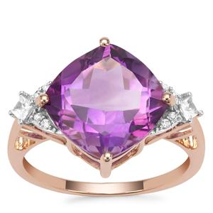 Moroccan Amethyst Ring with White Zircon in 9K Rose Gold 4.95cts