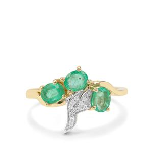 Colombian Emerald Ring with White Zircon in 9K Gold 1.13cts