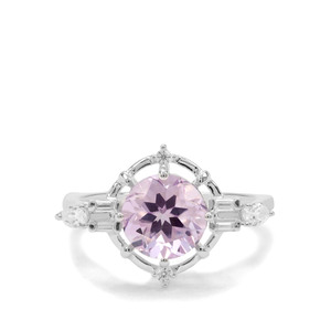 Moroccan Amethyst & White Zircon Sterling Silver Ring ATGW 2.13cts