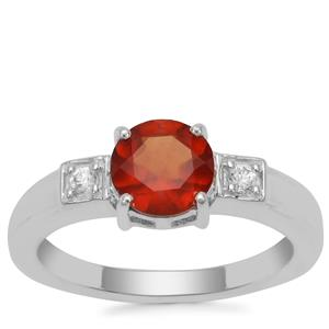 Gooseberry Grossular Garnet Ring with White Zircon in Sterling Silver 1.59cts