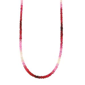 45.50ct Malagasy Ruby Sterling Silver Graduated Shaded Bead Necklace with Magnetic Lock (F)