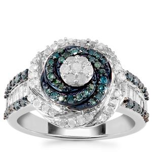 Blue Diamond Ring with White Diamond in Sterling Silver 1ct