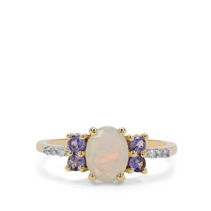 Ethiopian Opal, AA Tanzanite Ring with Diamond in 9K Gold 1.14cts