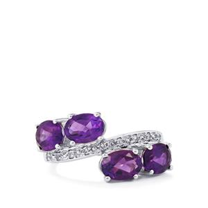Zambian Amethyst Ring with White Topaz in Sterling Silver 3.30cts