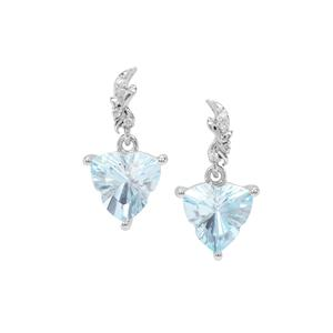Lehrer Infinity Cut Sky Blue Topaz Earrings with Diamond in 9K White Gold 4.36cts