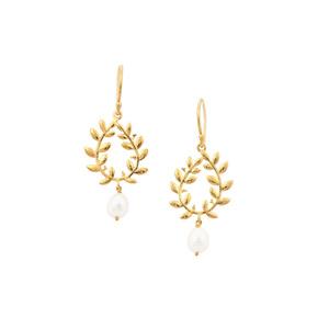 Kaori Cultured Pearl Midas Leaf Earrings (6.50 x 8.50mm)