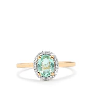 Paraiba Tourmaline Ring with Diamond in 18K Gold 1cts