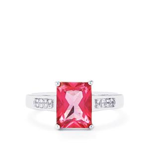 Mystic Pink Topaz Ring with White Topaz in Sterling Silver 2.75cts