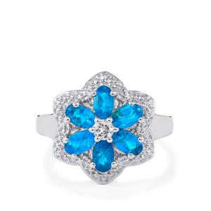 Neon Apatite Ring with White Topaz in Sterling Silver 1.54cts
