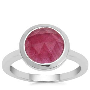 Rose Cut Malagasy Ruby Ring in Sterling Silver 3.15cts (F)